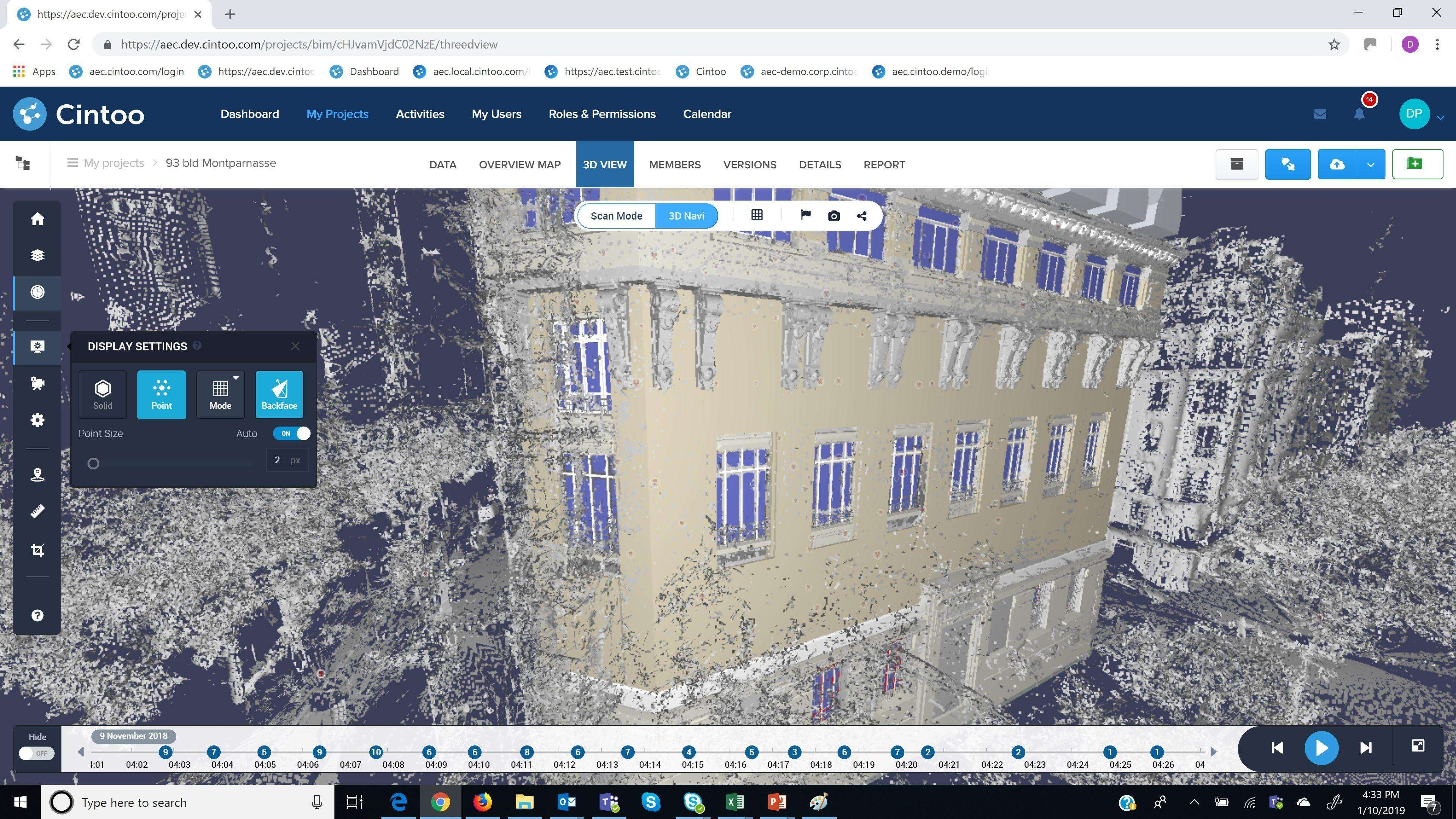 Cintoo Cloud_Scan data & BIM Model in 3D View
