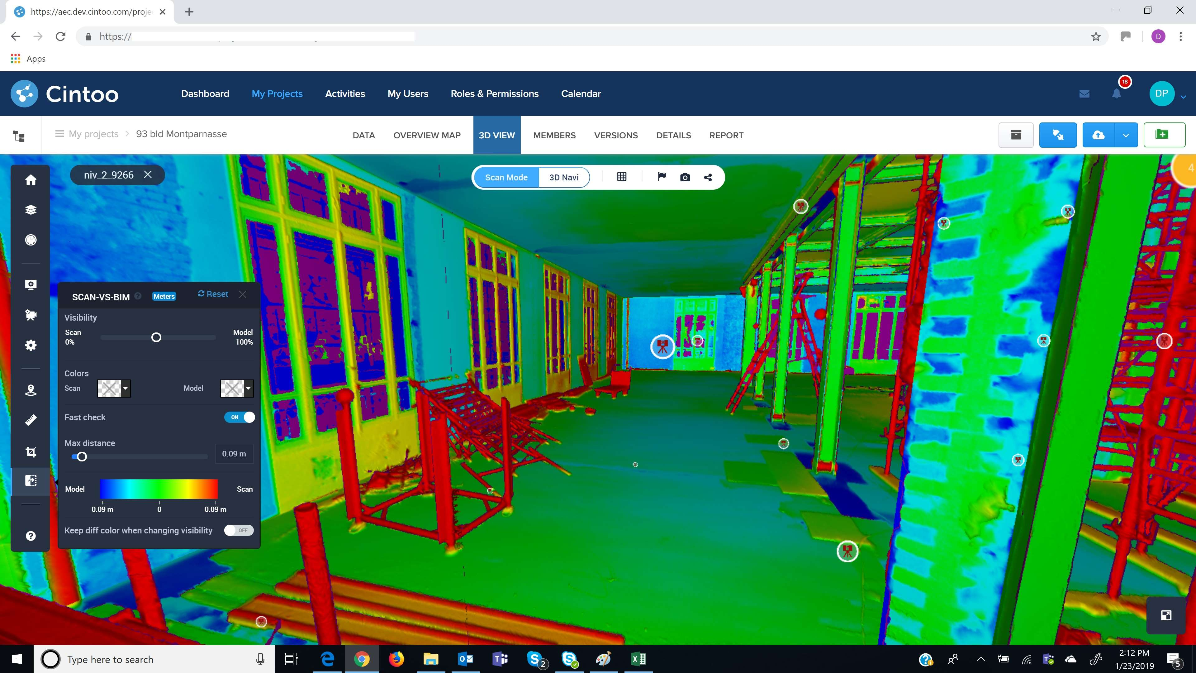 Cintoo Cloud 3D View_Comparing BIM model to scan data