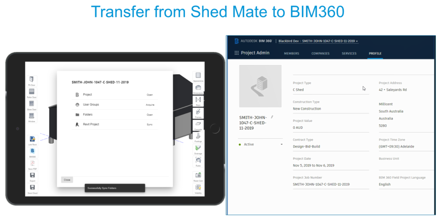 Transfer project data from Shedmate to BIM360