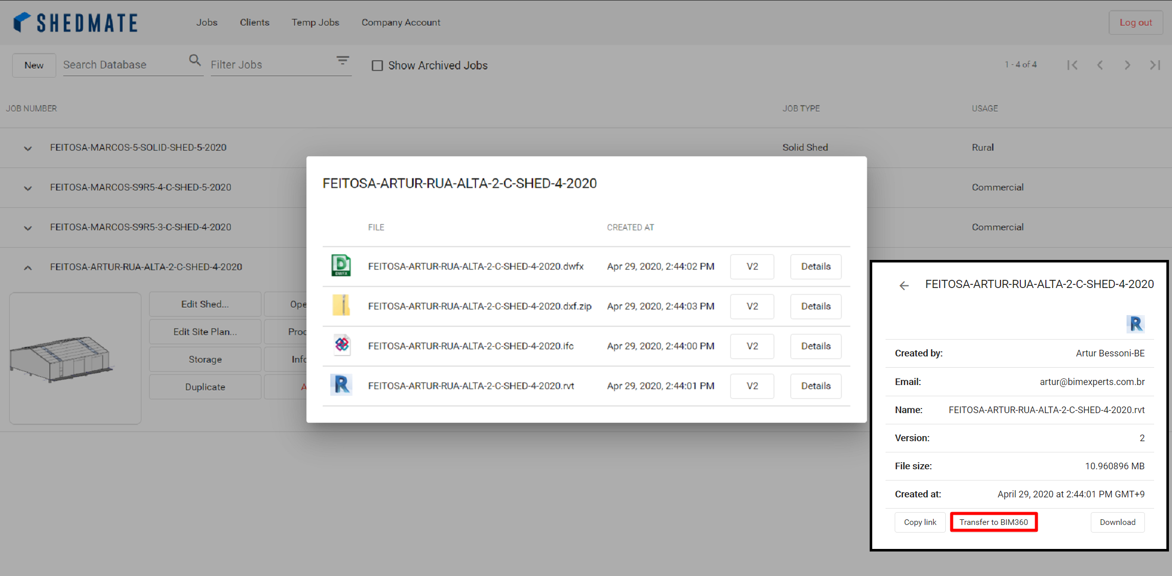 Export Revit, IFC, DXF, and DWFx files from Shedmate to BIM 360