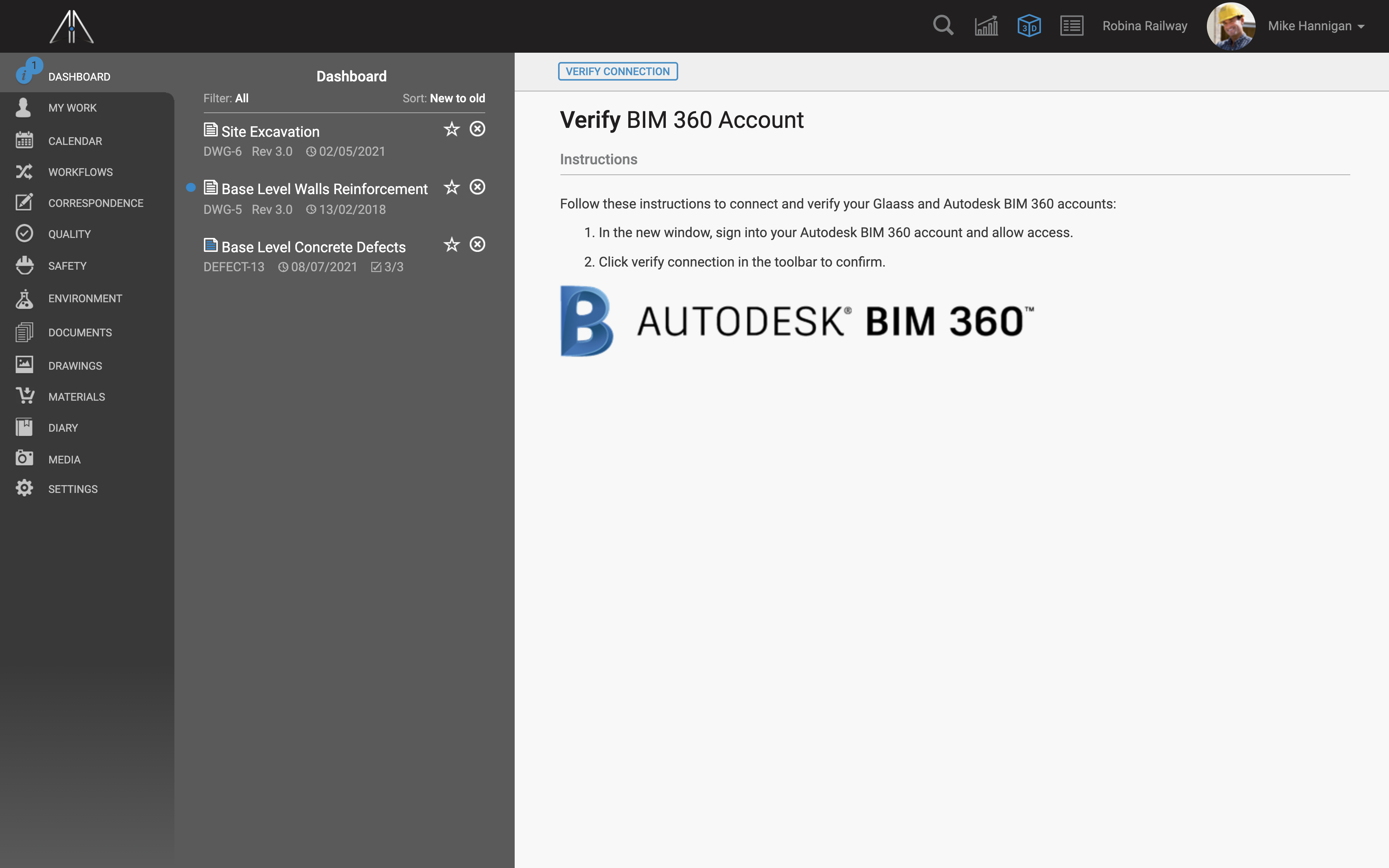 Setting up connection between Glaass account and Autodesk account