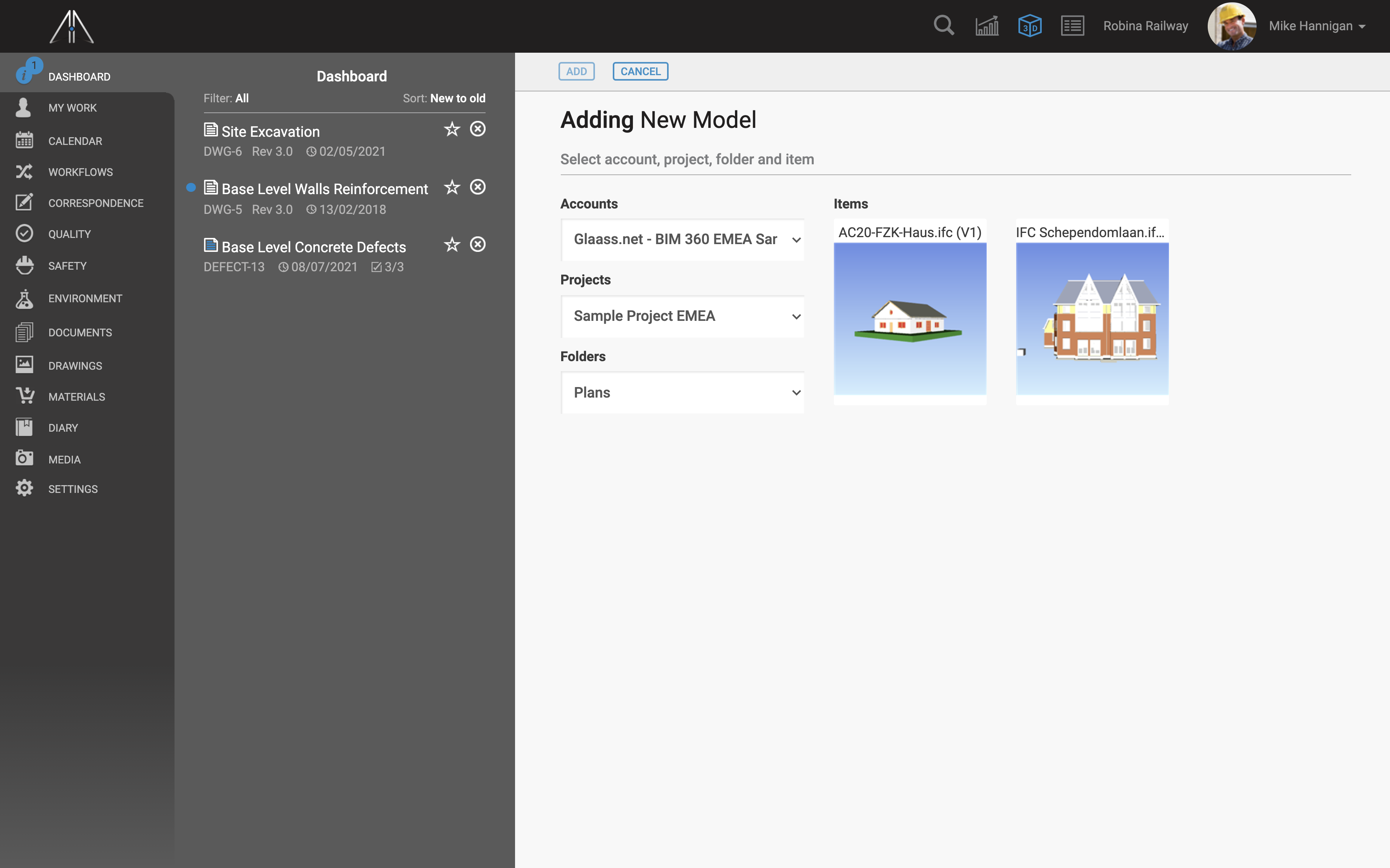 Select BIM 360 models and add them into Glaass Pro